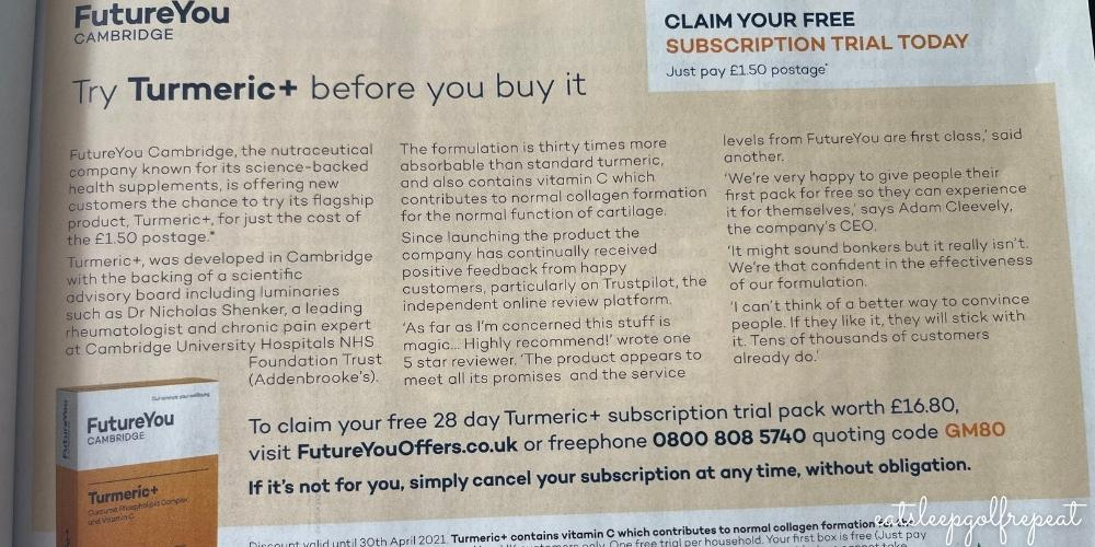 Turmeric + Advert from Golf Monthly
